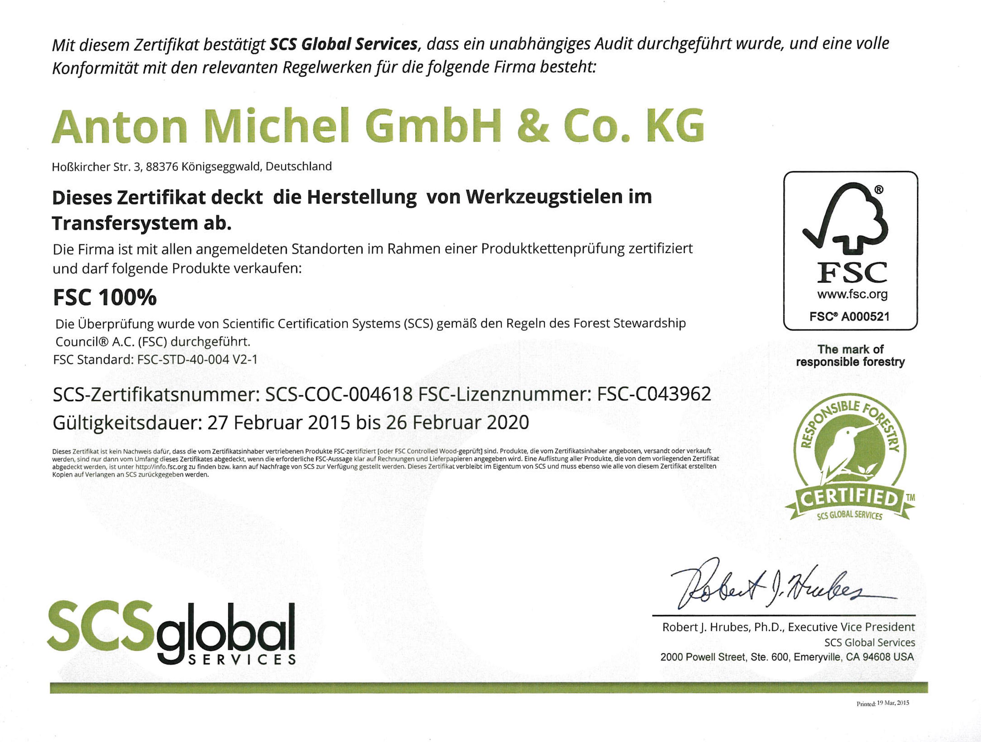 SCS Global Zertifikat